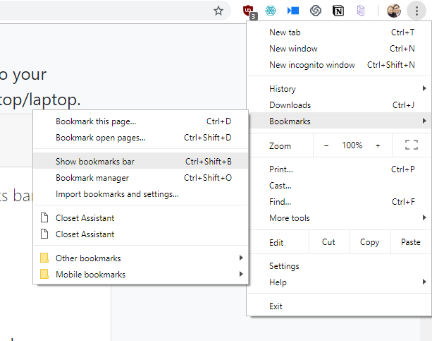 Show bookmarks in chrome.