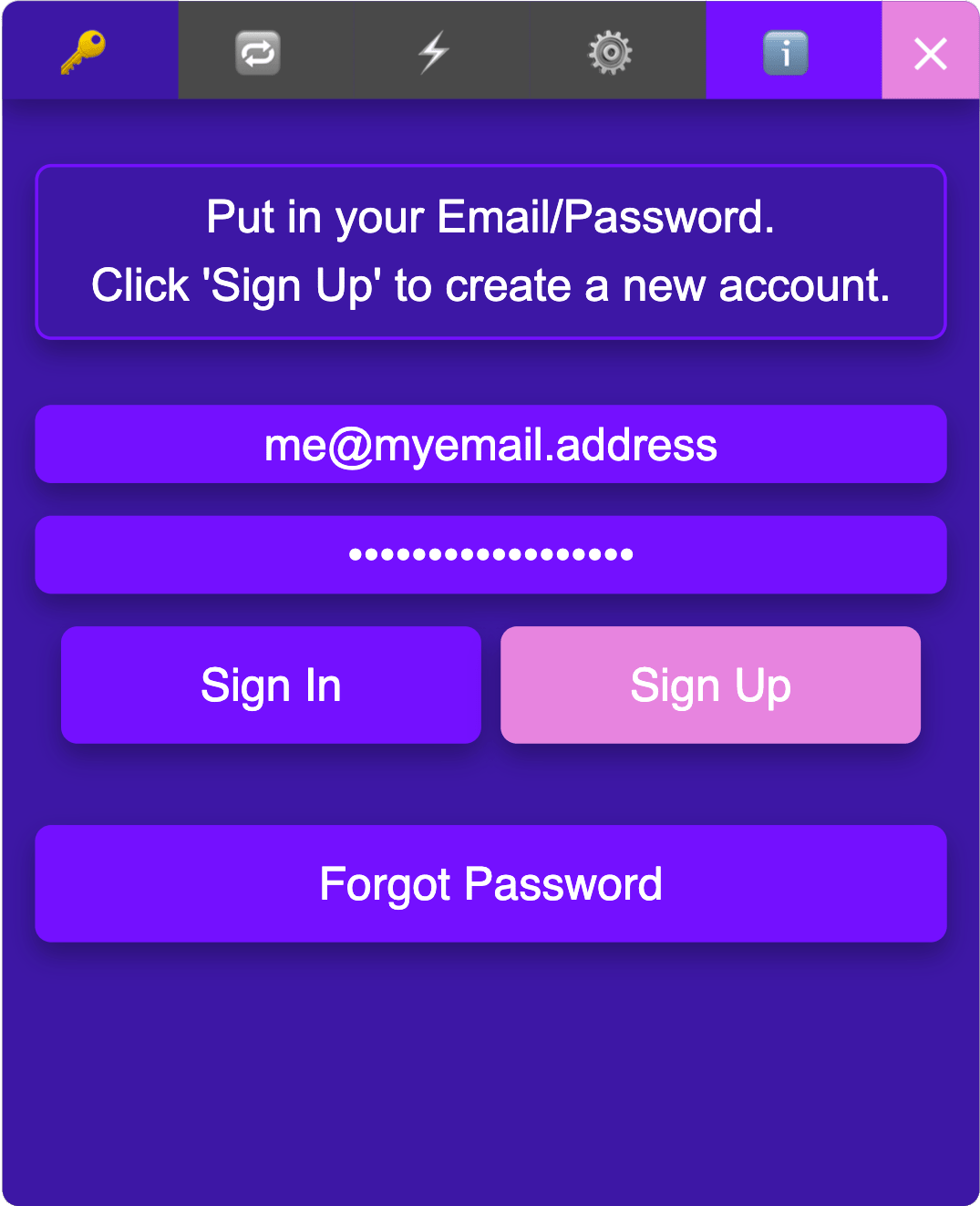 Sign up for a new account.
